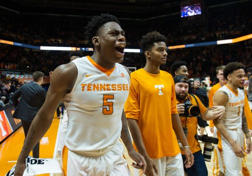8Jan 24, 2017; Knoxville, TN, USA; Tennessee Volunteers forward Admiral Schofield (5) celebrates after defeating the Kentucky Wildcats 82-80 at Thompson-Boling Arena. Mandatory Credit: Bryan Lynn-USA TODAY Sports