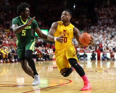 Feb 25, 2017; Ames, IA, USA; Iowa State Cyclones guard Deonte Burton (30) drives to the basket while Baylor Bears forward Johnathan Motley (5) defends at James H. Hilton Coliseum. Mandatory Credit: Reese Strickland-USA TODAY Sports